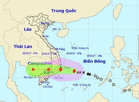 Trưa ngày 19/11, bão số 11 sẽ vào đất liền các tỉnh Khánh Hòa - Ninh Thuận - Bình Thuận.