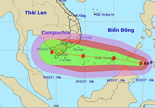 Ứng phó bão mạnh Tembin: Cấm biển trước 16h chiều nay 23/12