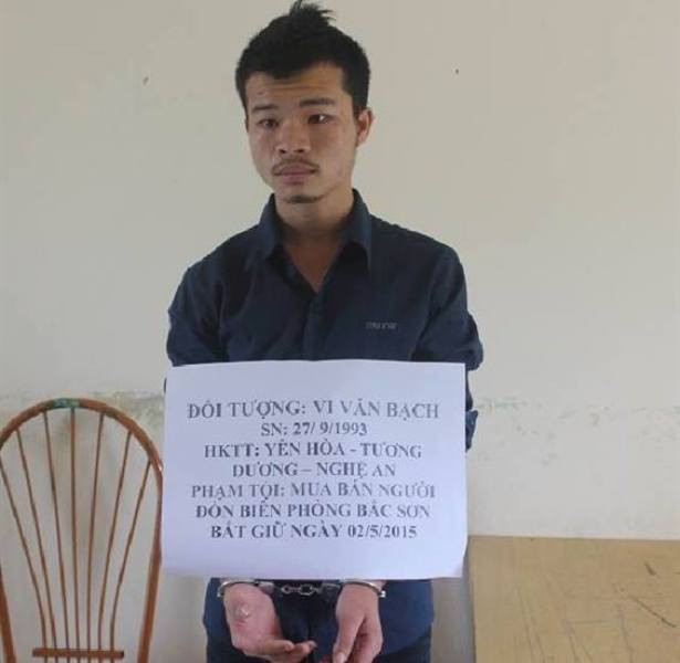 Đối tượng Vi Văn Bạch phạm tội buôn bán người bị bắt giữ. Ảnh: L.Đồng