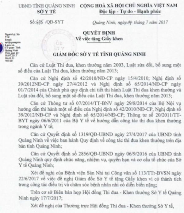 Quyết định khen thưởng đột xuất của Sở y tế cho kíp mổ Bệnh viện Sản Nhi Quảng Ninh. Ảnh: Đ.Tuỳ