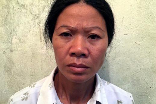 Đối tượng Nguyễn Thị Điệu tại trại tạm giam. Ảnh: H.vân