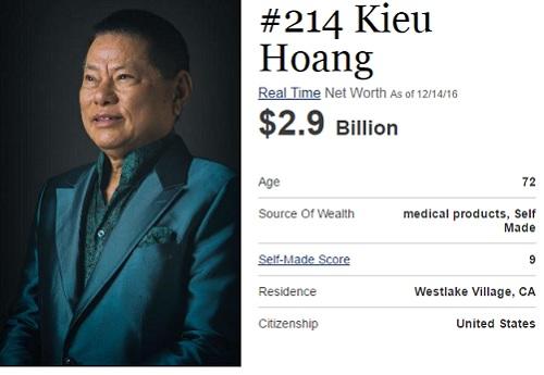 Hoàng Kiều là một trong những tỷ phú gốc Việt nổi tiếng