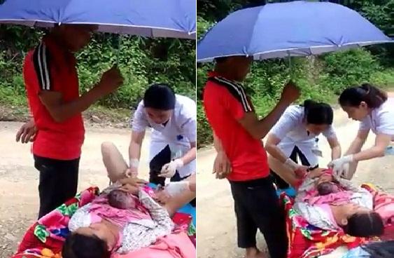 Kíp cấp cứu đã quyết định cứu cả mẹ lẫn con sản phụ ngay trên đường thay vì đưa đến viện. Ảnh cắt từ clip