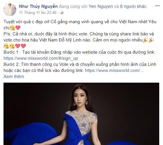 Thí sinh HHVN 2016 Nguyễn Như Thủy kêu gọi bình chọn cho Hoa hậu Đỗ Mỹ Linh