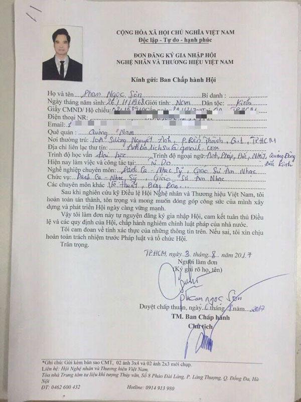 Đơn xin gia nhập Hội Nghệ nhân và thương hiệu Việt Nam được cho là của Ngọc Sơn.