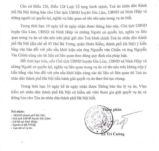 Thông báo số 210/TBTL-HCST về việc thụ lý vụ án hành chính sơ thẩm của TAND TP. Hà Nội