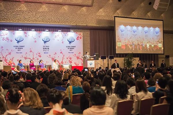 Thủ tướng Nhật Bản Shinzo Abe phát biểu tại phiên khai mạc Hội nghị thượng đỉnh phụ nữ toàn cầu 2017.