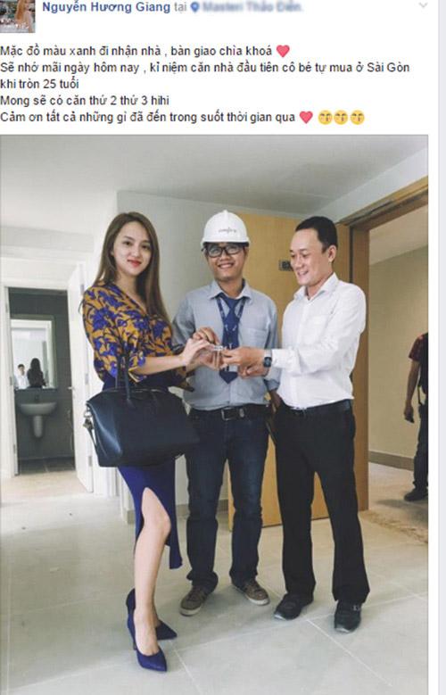 Hương Giang Idol vui mừng chia sẻ khi nhận chìa khóa, bàn giao căn hộ chung cư cao cấp ở quận 2