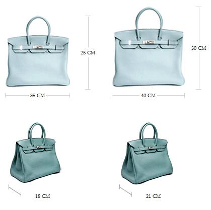 Túi Hermes Birkin có bốn cỡ cơ bản: Birkin 25 cm, Birkin 30 cm, Birkin 35 cm và Birkin 40 cm.