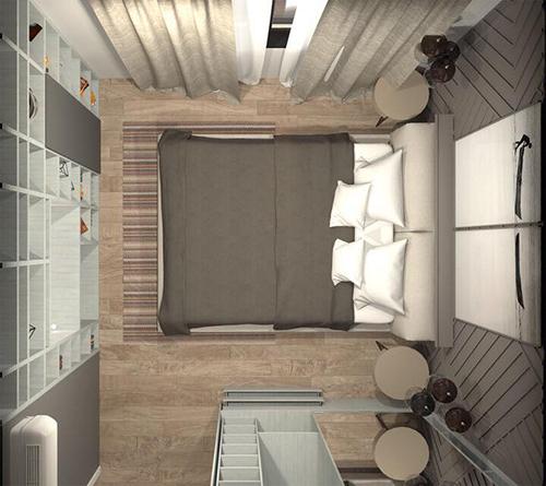 Phòng ngủ nhìn từ phía trên xuống, có thể thấy rõ mọi vật dụng trang trí