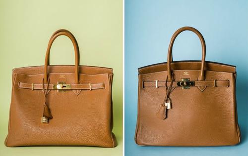 Có thể phân biệt túi Birkin thật (trái) và túi Birkin giả bằng mắt thường khi quan sát kỹ các chi tiết, chất liệu trên sản phẩm như quai da, nắp túi, dây khóa, logo...