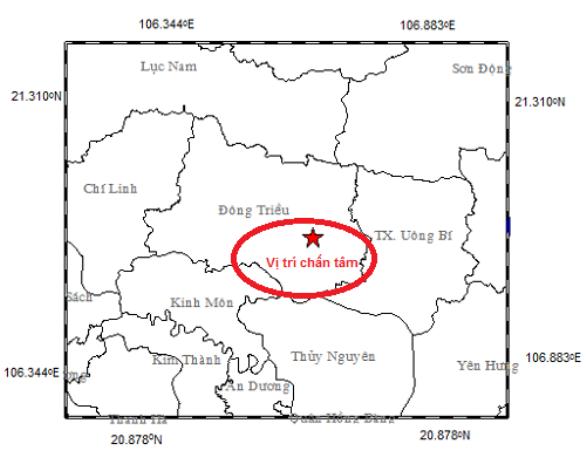 Vị trí xảy ra trận động đất nhẹ tại thị xã Đông Triều vào ngày hôm qua (3/7). Ảnh: TL.