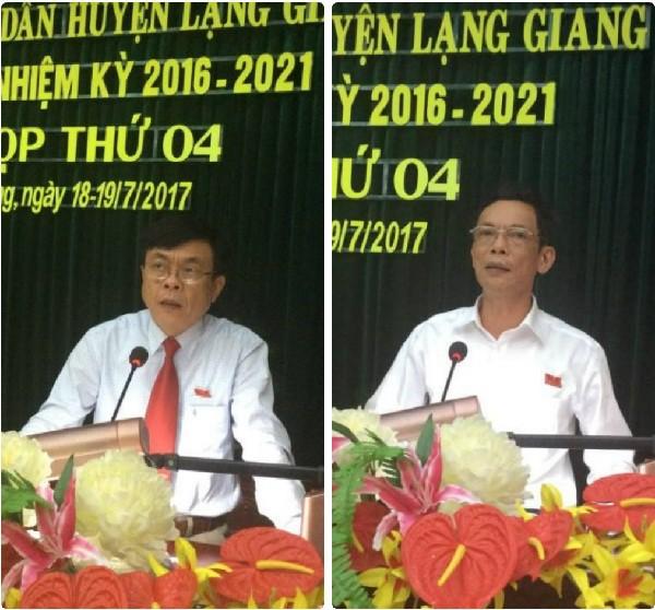 Bí thư huyện ủy Lạng Giang là ông Tạ Huy Cần - Tỉnh uỷ viên, Chủ tịch HĐND huyện (trái), còn Chủ tịch UBND huyện Lạng Giang là ông Nguyễn Văn Nghĩa (phải) (ảnh: Cổng TTĐT huyện Lạng Giang)