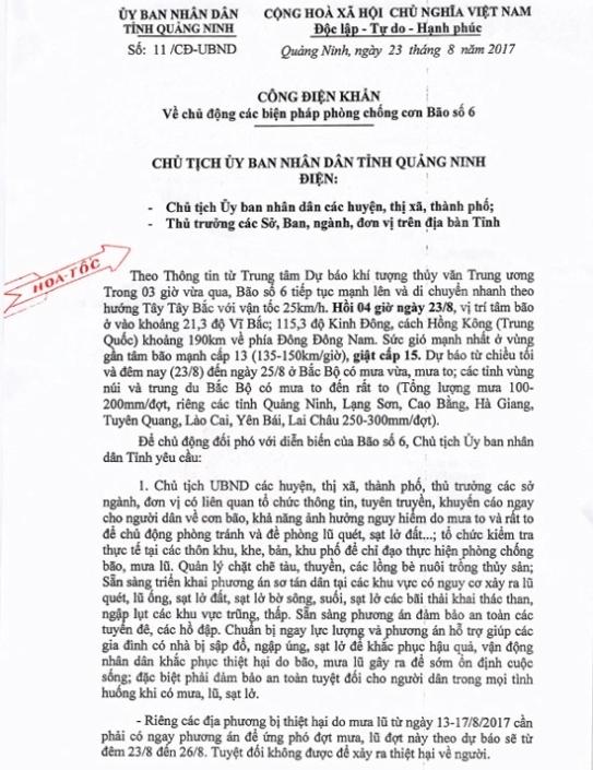 Nội dung Công điện khẩn của UBND tỉnh Quảng Ninh về cơ bão số 6. Ảnh: Đ.Tùy