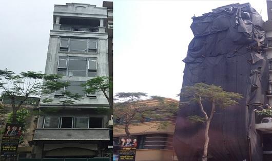 Hình ảnh thể hiện sự nghiêm minh trong tinh thần quyết liệt xử lý của cơ quan quản lý Nhà nước về trật tự xây dựng ở quận Hoàn Kiếm, Hà Nội. (ảnh: HC)