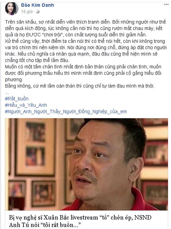 Diễn viên Kim Oanh chia sẻ cảm xúc, quan điểm trong vụ việc này.