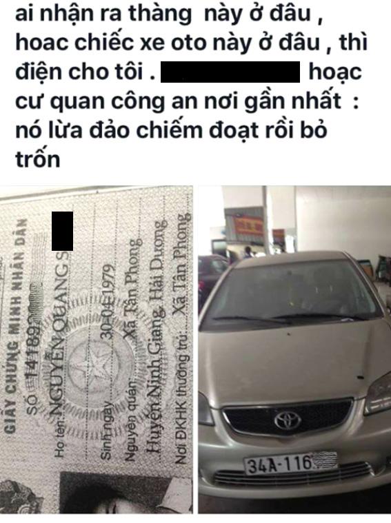Quá bức xúc khi anh S. mượn xe ô tô không trả rồi bỏ trốn, ông T. đã đăng thông tin lên mạng xã hội. Ảnh: Đ.Tuỳ