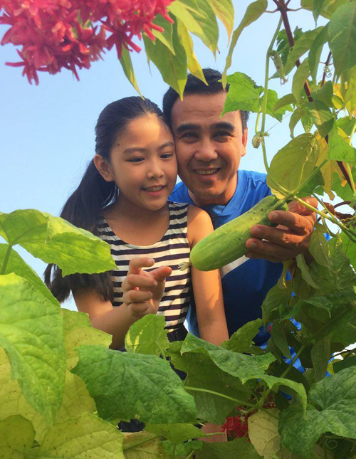 Không chỉ trồng dưới vườn, chị Thảo cũng gây dựng cả vườn rau trên sân thượng để gia đình có nguồn thực phẩm sạch.