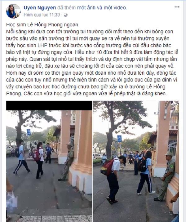 Bài viết kèm đoạn clip của phụ huynh trường Lê Hồng Phong thu hút cộng đồng mạng.