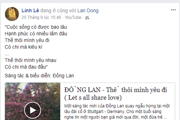 Ca sĩ Đồng Lan là bạn rất thân của nhà văn Linh Lê.