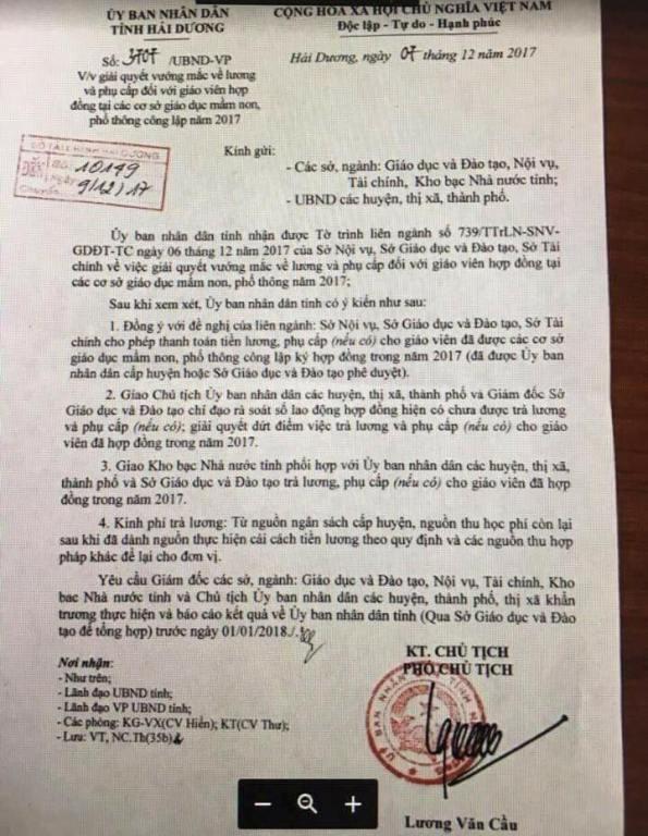 Công văn của UBND tỉnh Hải Dương giải quyết vướng mắc liên quan đến giáo viên bị ngưng trả lương trong 3 tháng. Ảnh: Đ.Tùy