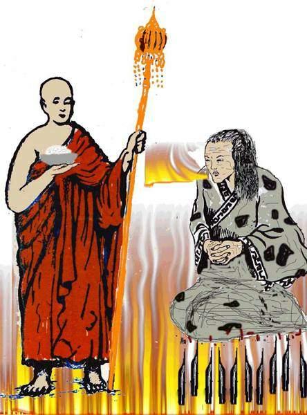 Tranh minh họa Đại hiếu Mục Kiền Liên Bồ Tát xuống âm giới tìm mẹ.