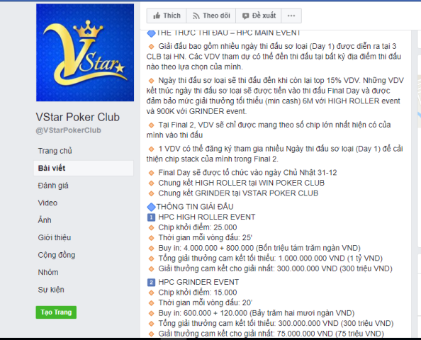 Thông tin về giải thưởng 1 tỷ đồng được đăng tải công khai trên Fanpage của Vstar Poker Club.
