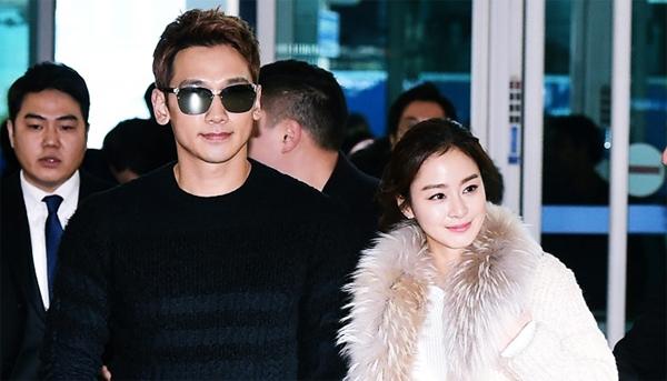 Đôi uyên ương Bi Rain và Kim Tae Hee. Ảnh: News