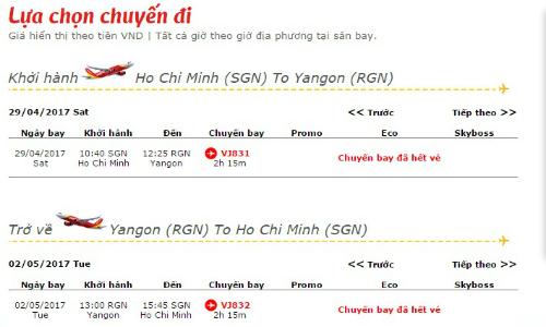 Chuyến bay đã hết vé là thông báo dễ gặp khi tìm vé cận ngày đi vào dịp 30/4.