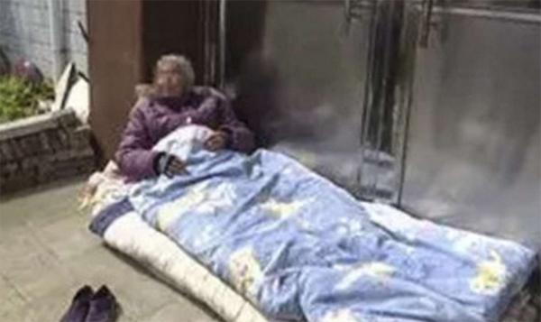 Cụ bà trải chăn nằm ngay ngoài cửa của nhà con trai thứ và kiên quyết không đi đâu cả cho đến khi con đón mình vào nhà.