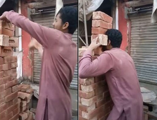 Syed Tahir xếp 2 viên gạch ở hàng thứ hai so le với các viên gạch khác nhằm tạo khoảng trống để có thể dùng răng giữ chặt viên gạch dưới cùng, giữ thăng bằng cho cả chồng gạch.