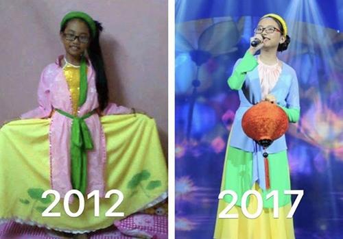 Phương Mỹ Chi khi bé mới vừa tham gia Giọng hát Việt nhí và bây giờ.