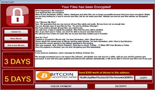 DarkoderCrypt0r sẽ tiến hành mã hóa tập tin trên máy tính để đòi tiền chuộc.