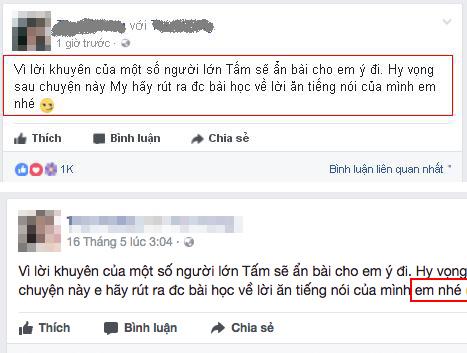 Sau khi luật sư của Huyền My đến cơ sở kinh doanh của cô gái làm việc, cô gái đã chỉnh sửa tên Á hậu thành em trên Facebook.