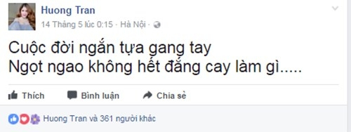 Trần Hương viết status tâm trạng. Ảnh: chụp màn hình