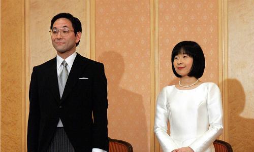 Bà Sayako và chồng trong lễ cưới. Ảnh: AFP