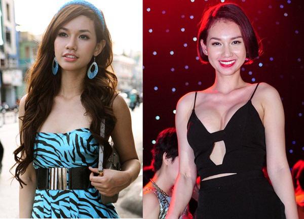 Một Quỳnh Chi từ hồi mới vào nghề (bên trái) và Quỳnh Chi của hiện tại (bên phải), đặt hai hình ảnh của cùng một người, rõ ràng sự thay đổi của vòng một càng thêm lộ rõ