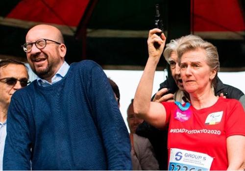 Thủ tướng Bỉ Charles Michel phản ứng lúc Công chúa Astrid nổ súng hiệu lệnh: Ảnh:AFP