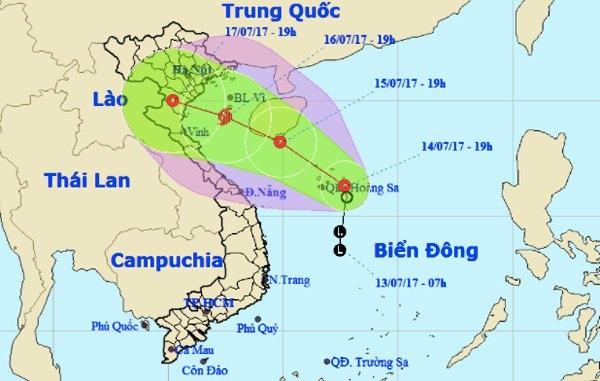 Áp thấp nhiệt đới đang tiếp tục mạnh thêm, có khả năng thành cơn bão số 2. Ảnh: NCHMF