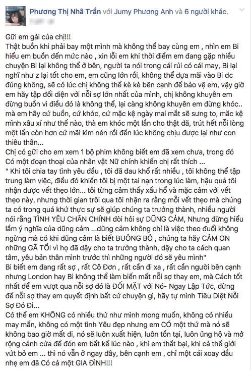 """Nhã Phương """"mượn"""" em gái viết tâm thư chia tay Trường Giang?"""