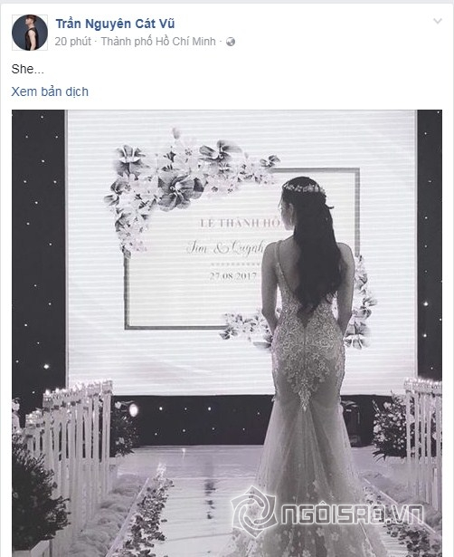 Tim đăng ảnh Trương Quỳnh Anh mặc váy cưới cô dâu bước vào lễ đường.