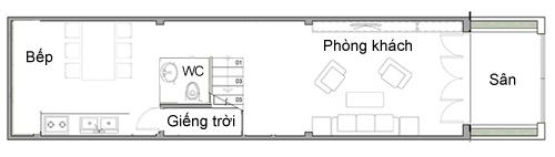 Minh họa bố trí ở tầng một của nhà chị Vân với giếng trời đầu tiên được xây sát hông nhà.
