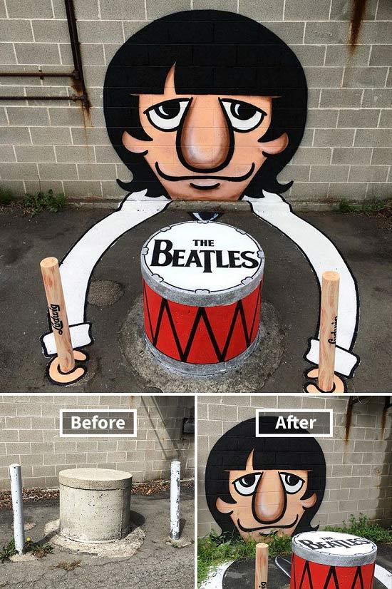 Cột bê tông đơn điệu đã lột xác thành sân khấu trình diễn đặc biệt của huyền thoại The Beatles!