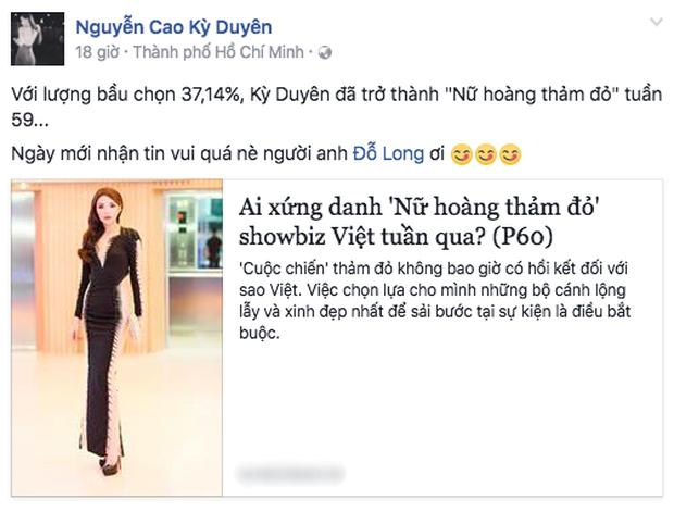 Kỳ Duyên vui mừng chia sẻ việc lọt Top sao mặc đẹp trên trang Facebook cá nhân.