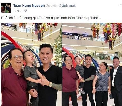 Mới đây, Tuấn Hưng chia sẻ ảnh gia đình hạnh phúc trên trang Facebook cá nhân.