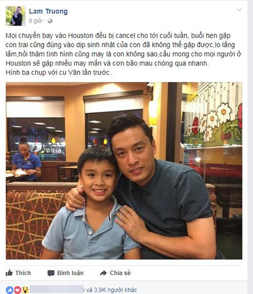Lam Trường bày tỏ sự lo lắng cho con trai khi sống trong vùng tâm bão.