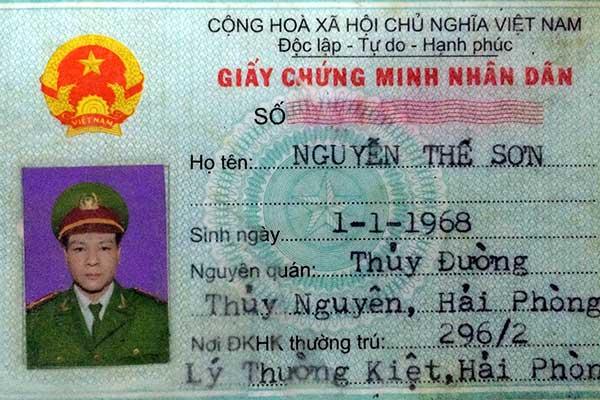 CMND giả của đối tượng Nguyễn Thế Sơn
