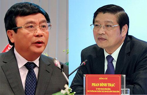 Ông Nguyễn Xuân Thắng (trái) và Phan Đình Trạc được bầu vào Ban bí thư Trung ương Đảng khóa 12.