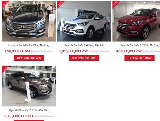 Giá xe Hyundai Santa Fe giảm mạnh tháng 11.