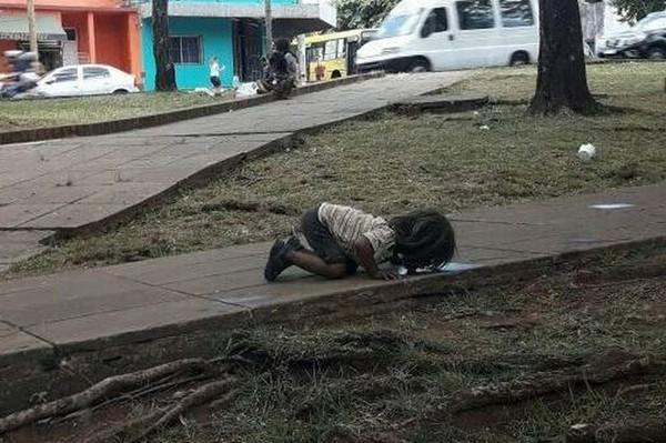 Ảnh bé gái uống nước từ vũng nước đọng khiến nhiều người xót xa